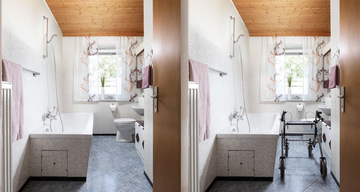 Schmales Bad für Badsanierung Altersgerecht